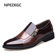 sampurchase NPEZKGC New Spring Fashion Oxford Business Men Shoes Genuine Leather High Quality Soft Casual Breathable Men's Flats Zip Shoes