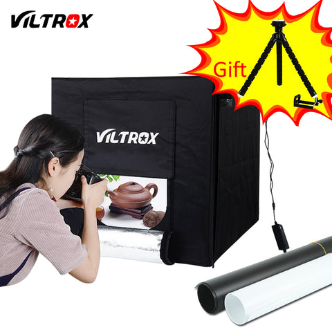 sampurchase Viltrox 60*60cm LED Photo Studio Softbox Light Tent Soft Box +AC Adapter +Backgrounds for Phone Camera DSLR Jewelry Toys Shoes