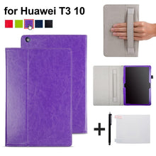 sampurchase Case For Huawei MediaPad T3 10 AGS-L09 AGS-L03 9.6 inch Cover Funda Tablet for Honor Play Pad 2 9.6 Slim Flip PU Case+Film+Pen