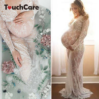 sampurchase Touchcare Lace Dresses Maternity Photography Props Transparent Pregnant Evening Dress Photo Shoot Gown Hollow Out Beach Clothes