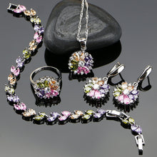 sampurchase Bride 925 Sterling Silver Jewelry Sets For Women Flower With Multicolor Cubic Zirconia Necklace/Ring/Earrings/Bracelet/Pendant