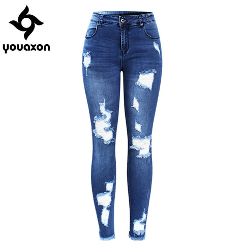 SAMPURCHASE  2127 Youaxon New Ultra Stretchy Blue Tassel Ripped Jeans Woman Denim Pants Trousers For Women Pencil Skinny Jeans