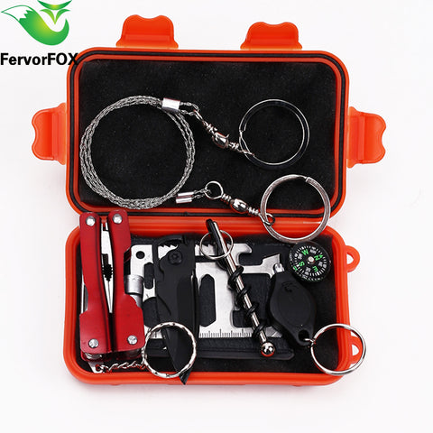 sampurhcase 1 Set Outdoor Emergency Equipment SOS Kit First Aid Box Supplies Field Self-help Box For Camping Travel Survival Gear Tool Kits