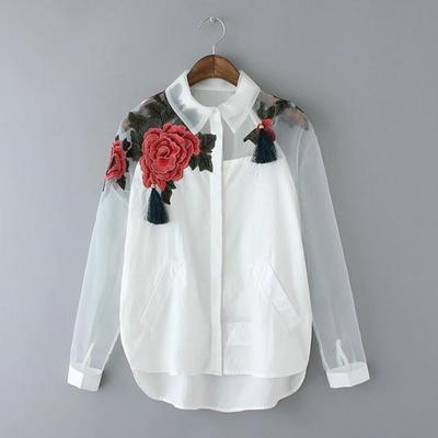 sampurchase Women White Blusas Feminina Organza Flower Embroidery Mesh Hollow out Long Sleeve Shirt Blouse Clothes Tops Plus Size T5N214
