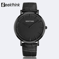 sampurchase GEEKTHINK Minimalist Top Brand Luxury Quartz watch men Business Casual Black Japan quartz-watch genuine leather ultra thin clock