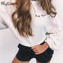 sampurchase Hugcitar letters embroidery Sweatshirt 2017 autumn female Long Sleeve Women crop top pink white solid girl casual Pullover