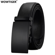 sampurchase WOWTIGER Fashion Designers Men Automatic Buckle Leather luxury Belts Business Male Alloy buckle Belts for Men Ceinture Homme