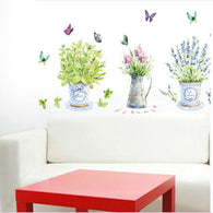 sampurchase DIY wall stickers home decor potted flower pot butterfly kitchen window glass bathroom decals waterproof  Free shipping