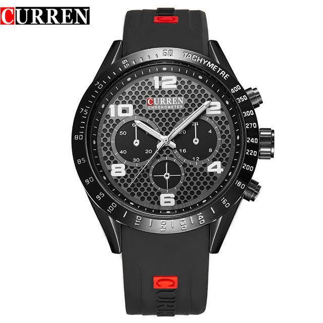 sampurchase 2017 New CURREN Brand Luxury Men Sports Watches Silicone Men Quartz Military Army Wristwatches,Sub-dial Decor Relogio Masculino