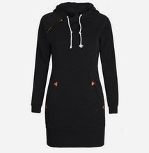 sampurchase Warm Winter High Quality Hooded Dresses Pocket Long Sleeved Casual Mini Dress Sportwear Women Clothings LX130