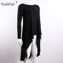sampurchase Nadafair Stretch Knitted Cotton O Neck Long Sleeve Drop Hem Casual Women Long T Shirts Punk Black Autumn Winter Tees