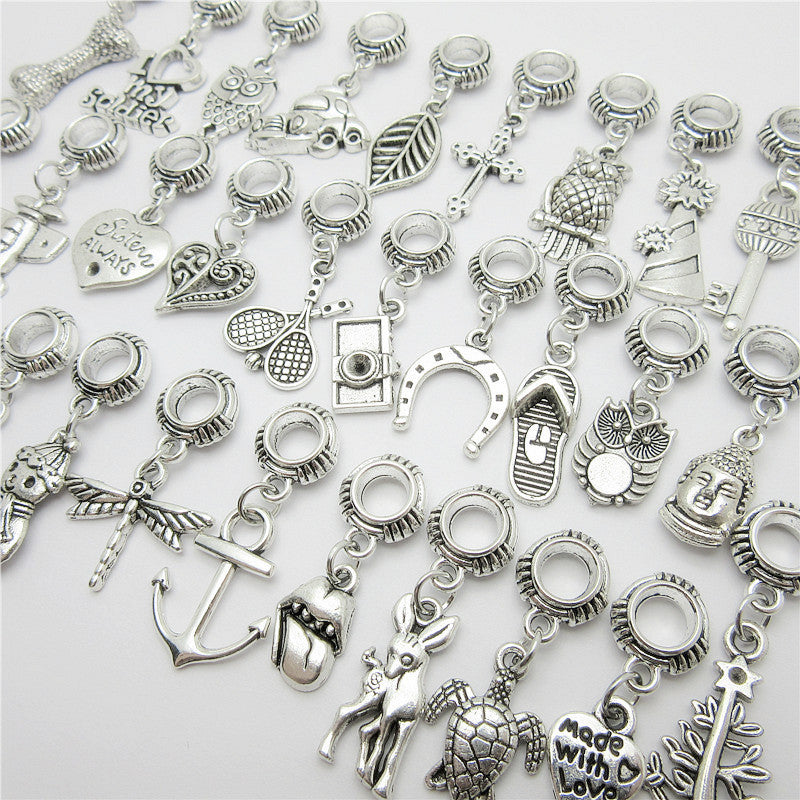 sampurchase Random mix 30pcs Ancient silver Big hole loose beads fit Pandora charm bracelet DIY pendant jewelry making