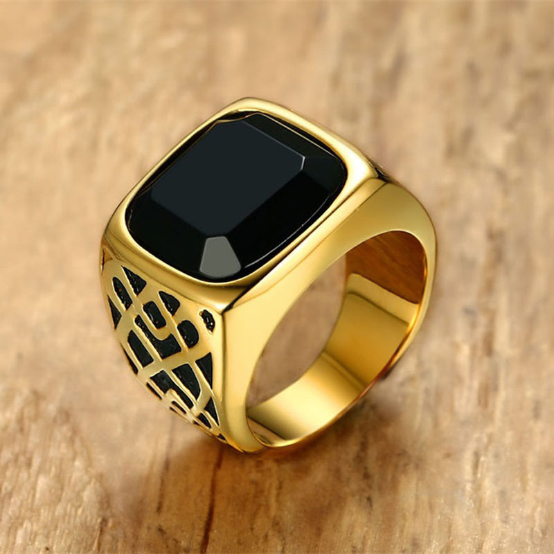 sampurchase Men Square Black Carnelian Semi-Precious Stone Signet Ring in Gold Tone Stainless Steel for Male Jewelry Anillos Accessories