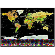 sampurchase Travel World Map Scratch Off Word With Flags & US States Scratch World Map Wall Stickers Home Decoration Accessories 82.5cm