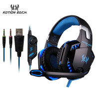 sampurchase KOTION EACH 3.5mm Earphone Gaming Headset Gamer PC Headphhone Gamer Stereo Gaming Headphone With Microphone Led For Computer