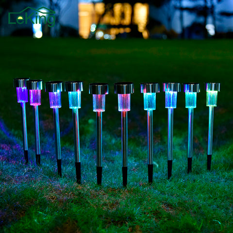 sampurchase Hot Sale Waterproof 10 PCs LED Outdoor Garden Light RGB White Solar Powered Landscape Yard Lawn Path Lamp Outdoor Decoration