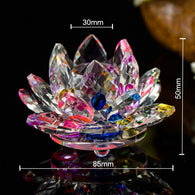 sampurchase Various Colors 85mm Crystal Lotus Crafts Glass Flower Miniatures Paperweight Table Ornaments Gift Home Decoration Accessories