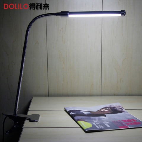 sampurchase LED table lamp for reading Clip-On Flexible Bright booklight bedside reading lamp 10W 5V 220V dim warm to cool
