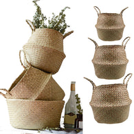 sampurchase S/M/L Seagrass Wickerwork Basket Rattan Foldable Hanging Flower Pot Planter Woven Dirty Laundry Hamper Storage Basket Home Decor