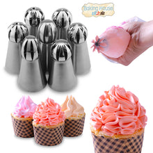 sampurchase  7PCS Russian Spherical Ball Stainless Steel Icing Piping Nozzle Pastry Tips Fondant Cupcake Baking Tip Tool Sphere Shape Cream