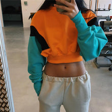 sampurchase NCLAGEN 2018 New Women Spring Autumn Cute Pinkycolor Orange Hoodies Long Sleeve Loose Crop Top Sweatshirt Casual Patchwork Cloth