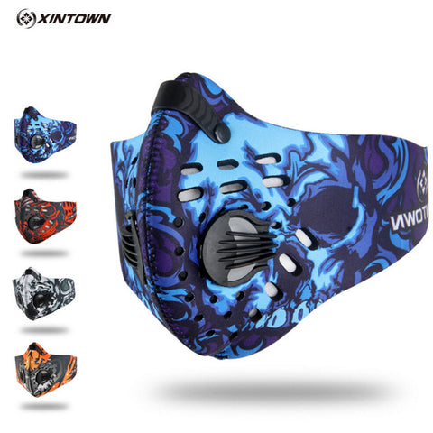 sampurchase XINTOWN Men/Women Activated Carbon Dust-proof Cycling Face Mask Anti-Pollution Bicycle Bike Outdoor Training mask face shield