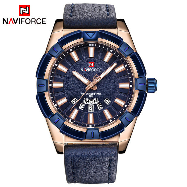 sampurchase 2018 NEW NAVIFORCE Luxury Brand Men's Quartz Watches Men Fashion Casual Leather Sports Watch Man Date Clock Relogio Masculino