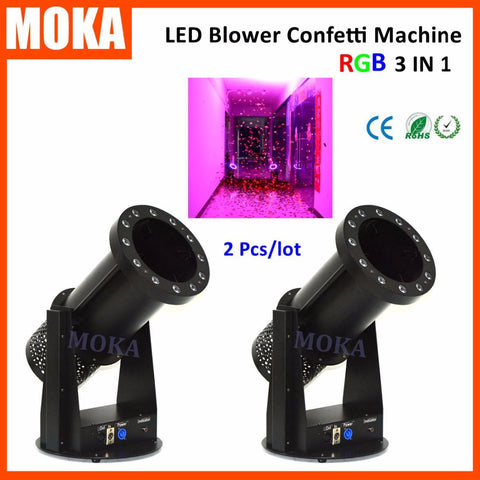 SAMPURCHASE 2 pcs/lot LED RGB DMX lighting effect confetti launcher