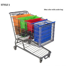 sampurchase Cart Trolley Supermarket Shopping Bag Grocery Grab Shopping Bags Foldable Tote Eco-friendly Reusable Supermarket Bags 4pcs/set