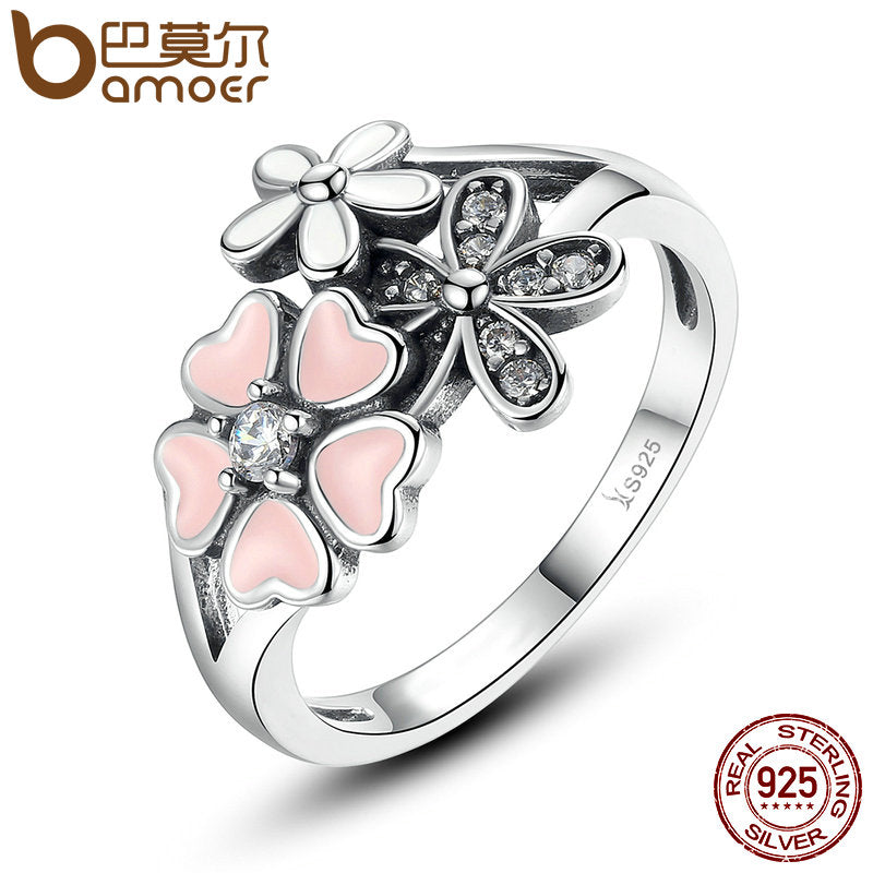 sampurchase BAMOER Fashion 925 Sterling Silver Pink Flower Poetic Daisy Cherry Blossom Finger Ring for Women #6 7 8 9 Size Jewelry SCR004