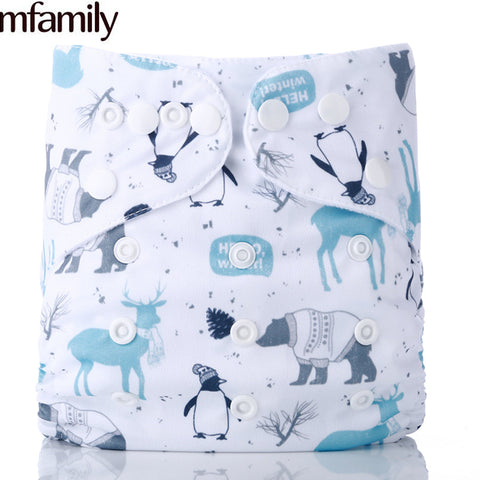 [simfamily]1PC Reusable One Size Pocket Cloth Diaper Waterproof Cartoon Animals Soft Wholesale Diapers Baby Nappy Suit: 3-15KG