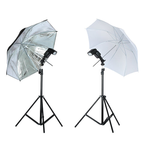 sampurchase Viltrox Photo Studio Lighting Kit 1.9M Tripod Light Stand +  Flash Bracket Holder + 33'' Soft Black silver reflective umbrella