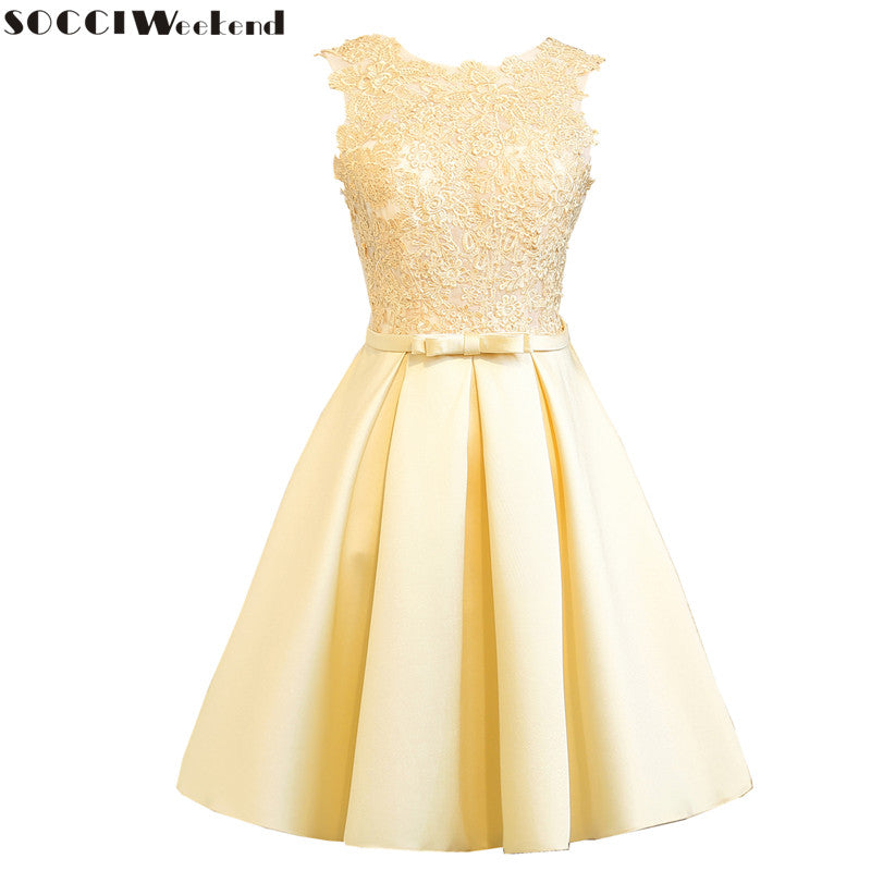 sampurchase SOCCI Weekend Light Gold Cocktail Dress 2017 Womens Tulle Lace Formal Wedding Party Gowns sleeveless knee length robe de Dresses
