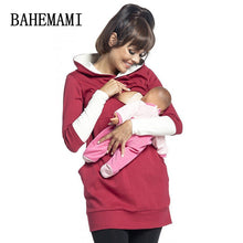 sampurchase BAHEMAMI 2018 Warm Cotton Women's Maternity Hoodies Nursing Clothing Breastfeeding Hoodies For Pregnant Women Outwear Clothes