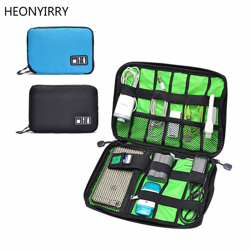 sampurchase Waterproof Outdoor Travel Kit Nylon Cable Holder Bag Electronic Accessories USB Drive Storage Case Camping Hiking Organizer Bag