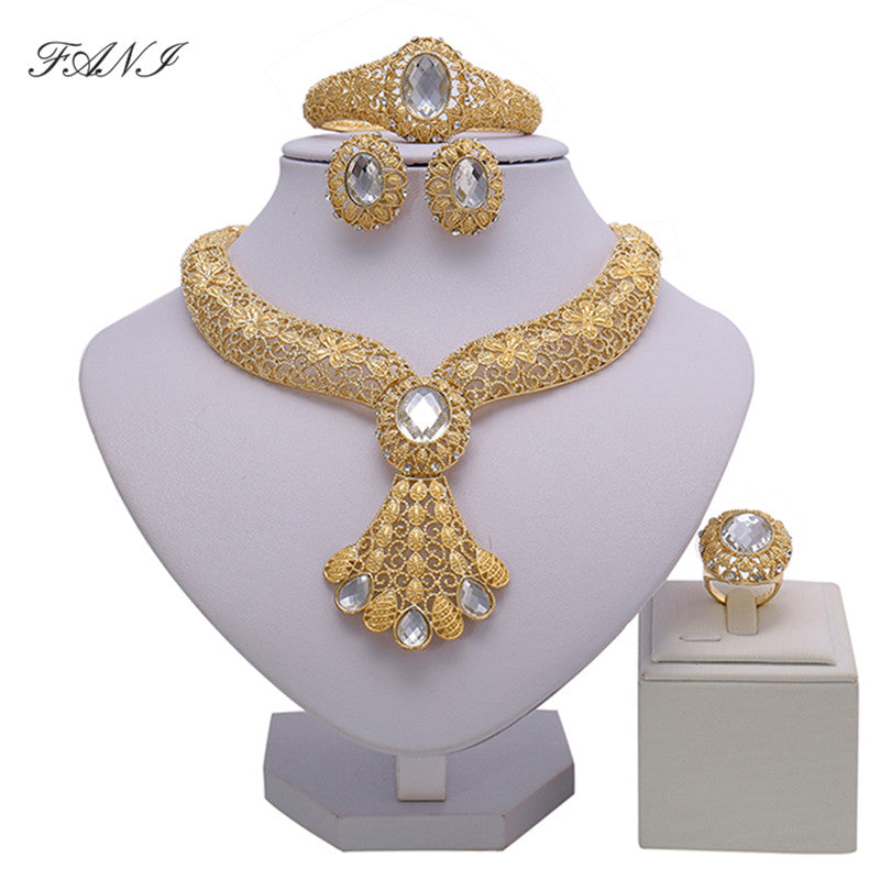 sampurchase Bridal Gift Nigerian Wedding African Beads Jewelry Set Brand Woman Fashion Dubai Gold Color Jewelry Set Wholesale Design