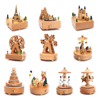 sampurchase  Kawaii Zakka Carousel Musical Boxes Wooden Music Box Wood Crafts Retro Birthday Gift Vintage Home Decoration Accessories