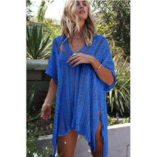 sampurchase 2018 New Beach Cover Up Bikini Crochet Knitted Tassel Tie Beachwear Summer Swimsuit Cover Up Sexy See-through Beach Dress