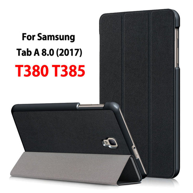 SAMPURCHASE Ultra Slim Magnetic Case for Samsung Galaxy Tab A 8.0 T380 T385 2017 8.0 inch Smart Cover Funda Tablet PU Stand Case +Film+Pen