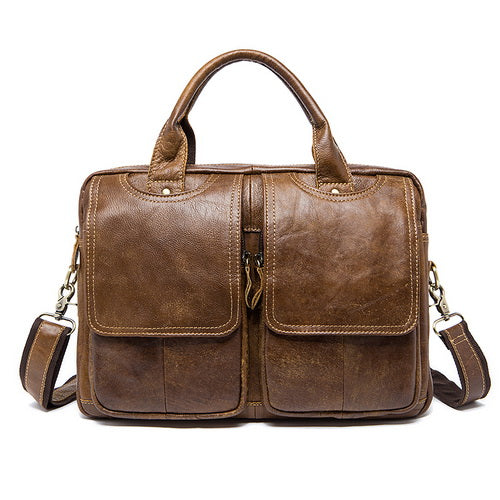 sampurchase WESTAL Genuine Leather Mens Bags Tote Crossbody Bags Men's Briefcase Laptop 14''  Messenger Bag Men's shoulder bag Leather 8002