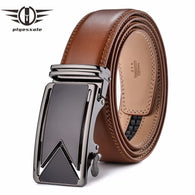 sampurchase Plyesxale Men Belt 2018 Cowhide Genuine Leather Belts For Men Luxury Automatic Buckle Belts Brown Black Cinturones Hombre B55