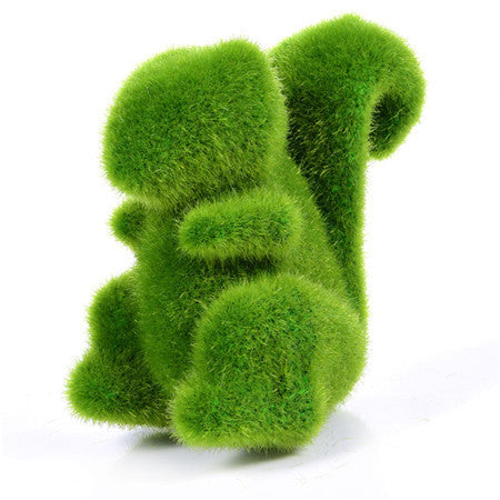 sampurchase Lovely Animal Shape Simulation Green Grass Ornaments Emulational Green Plant Bonsai Grass Animal Decoration For Home Garden