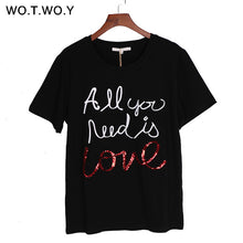 sampurchase WOTWOY Summer Sequin Tops Tees Woman Funny Letter Embroidery T Shirt Women Black White O-Neck Cotton T-Shirt Femme 2018 New