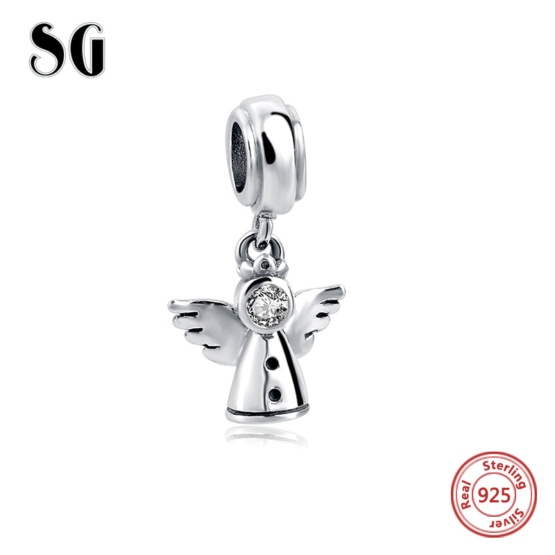 sampurchase Hot sale 925 Sterling Silver angel Original Charms beads Fit pandora Bracelet Pendant Authentic beads Jewelry making women Gift