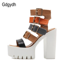 sampurchase Gdgydh Women Sandals High Heels 2018 New Summer Fashion Buckle Female Gladiator Sandals Platform Shoes Woman Black Size 35-42