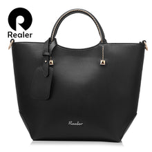 sampurchase REALER women handbag large bucket shoulder messenger bag female high quality artificial leather totes fashion ladies top-handle