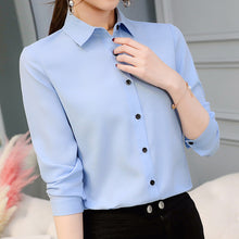 sampurchase women blouse office shirt summer autumn long sleeve white pink red navy blue work wear korean formal tops female clothing