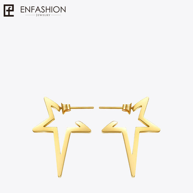 sampurchase Enfashion Star Earrings Punk Stud Earring Rose Gold Color Earings Stainless Steel Earrings For Women Jewelry Wholesale