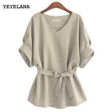 sampurchase YEYELANA 2018 Summer Women Blouses Linen Tunic Shirt V Neck Big Bow Batwing Tie Loose Ladies Blouse Female Top For Tops A073