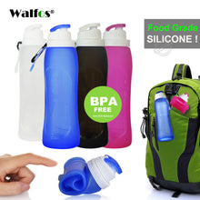 sampurchase WALFOS Food Grade 500ML Creative Collapsible Foldable Silicone drink Sport Water Bottle Camping Travel plastic bicycle bottle